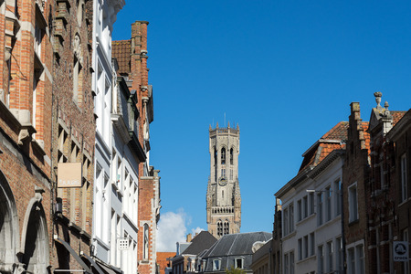 flanders: View towards the Belfry in Bruges West Flanders Belgium