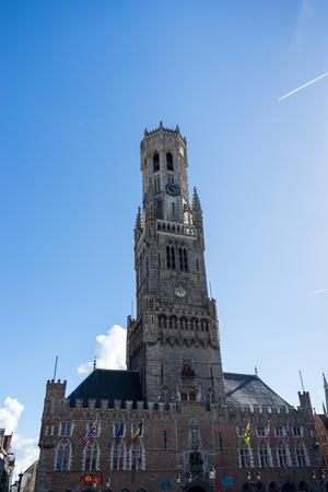 flanders: View towards the Belfry in Bruges West Flanders Belgium