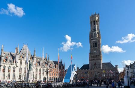 belfry: View towards the Belfry in Bruges West Flanders Belgium
