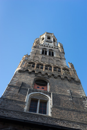 bruges: View up the Belfry in Bruges West Flanders Belgium