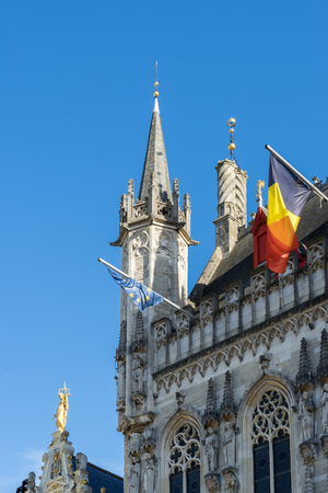 neogothic: Provincial Palace in Market Square Bruges West Flanders Belgium