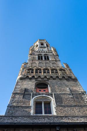 belfry: View up the Belfry in Bruges West Flanders Belgium