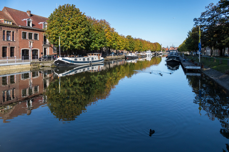 flanders: View down a canal in Bruges West Flanders Belgium Editorial