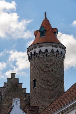 flanders: Medieval brickwork tower in Bruges West Flanders Belgium Stock Photo