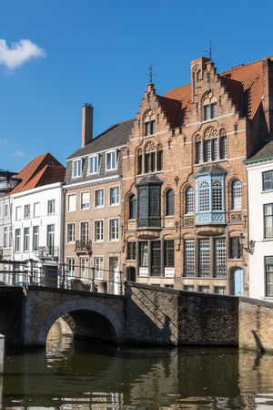 gabled: Bridge over a canal in Bruges West Flanders in Belgium