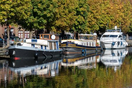 bruges: Barges moored in Bruges West Flanders Belgium Editorial