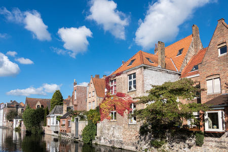 flanders: Buildings alongside a canal in Bruges West Flanders in Belgium