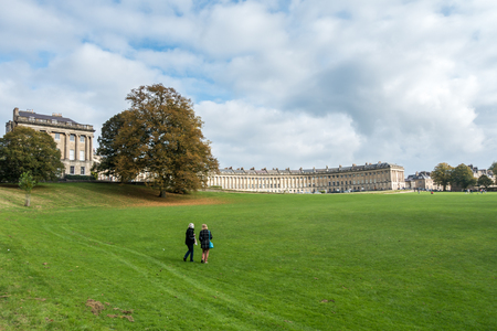 somerset: View of the Royal Crescent in Bath Somerset