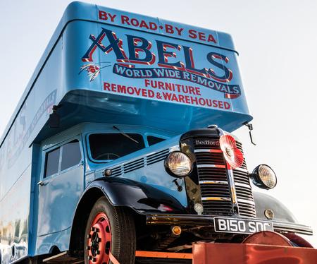 london to brighton: Removal Truck on a trailer in Brighton Editorial