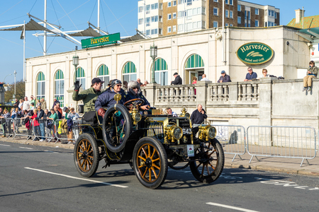 london to brighton: Car approaching the Finish Line of the London to Brighton Veteran Car Run