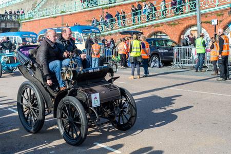 london to brighton: Car just finished London to Brighton Veteran Car Run