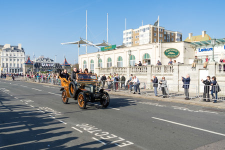 Cars approaching the Finish Line of the London to Brighton Veteran Car Run