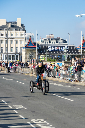 london to brighton: Vehicle approaching the Finish Line of the London to Brighton Veteran Car Run