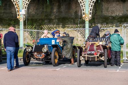london to brighton veteran car run: Cars just finished London to Brighton Veteran Car Run