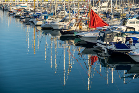 waterfront property: Boats in the Marina in Brighton Editorial