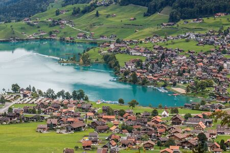 the bernese oberland: View of Brienz in the Bernese Oberland region of Switzerland