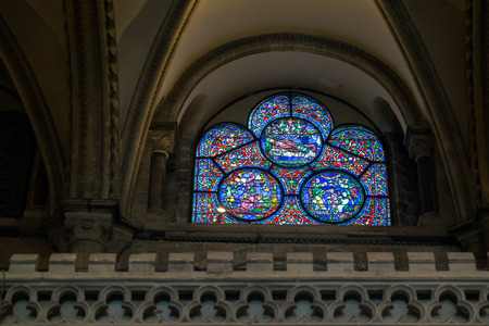 canterbury: Stained Glass Window in Canterbury Cathedral Editorial