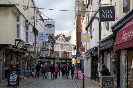 canterbury: People in the old shopping area of Canterbury