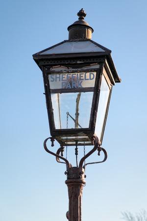 sheffield: Gas Lamp at Sheffield Park Station Stock Photo