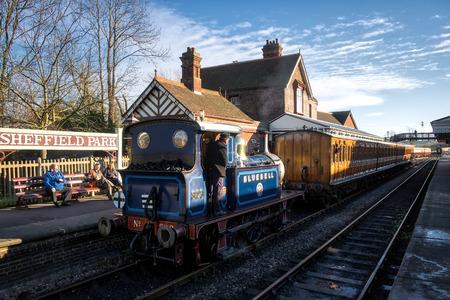 sheffield: Bluebell Steam Train arriving at Sheffield Park Station
