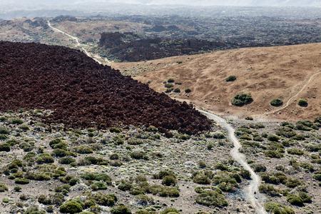 inhospitable: Inhospitable landscape of the Mount Teide Caldera Stock Photo