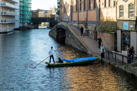 punting: Punting on the Regents Canal at Camden Lock