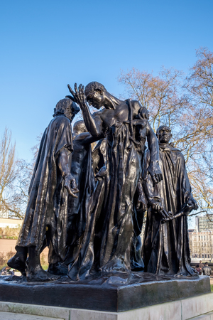 rodin: The Burghers of Calais Statue in Victoria Tower Gardens Stock Photo