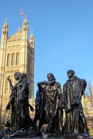 calais: The Burghers of Calais Statue in Victoria Tower Gardens Stock Photo