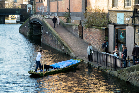punt: Punting on the Regents Canal at Camden Lock