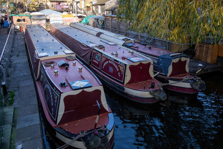 canal lock: Narrow Boats on the Regents Canal at Camden Lock