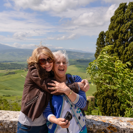 pienza: Mum and daughter on holiday in Pienza Italy