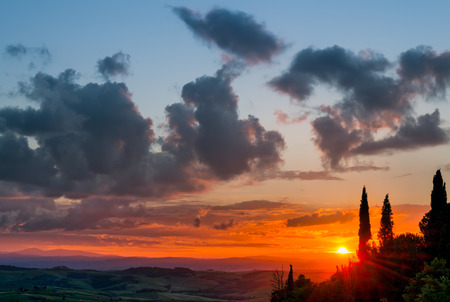 val d'orcia: Sunset Val dOrcia Tuscany Stock Photo