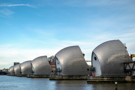 barrier: View of the Thames Barrier Editorial