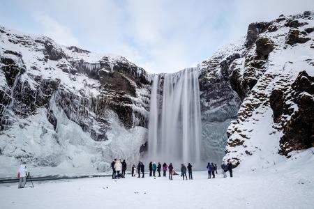 skogafoss waterfall: View of Skogafoss Waterfall in Winter