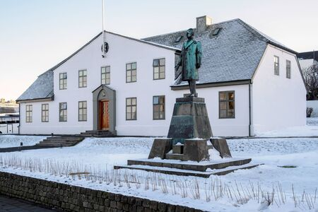 ministers: Government House, Prime Ministers Office, and Hannes Hafstein statuei n Reykjavik