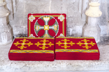 winchester: Pew Cushions in Winchester Cathedral