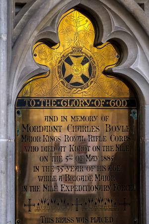 commemorative: Commemorative Plaque in Winchester Cathedral