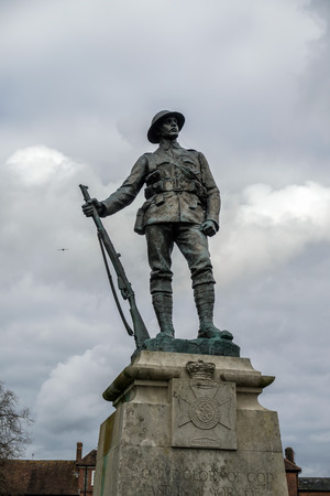 winchester: Commemorative Statue to the King's Royal Rifle Corps in Winchester Editorial