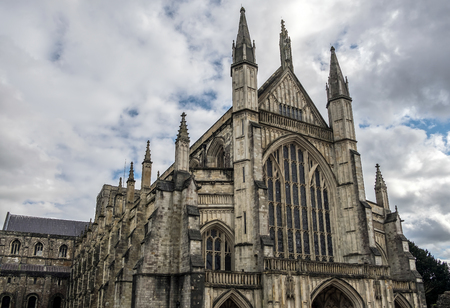 winchester: Exterior View of Winchester Cathedral Stock Photo