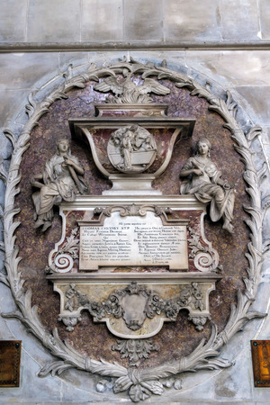 winchester: Commemorative Plaque to Thomas Cheyney in Winchester Cathedral Editorial