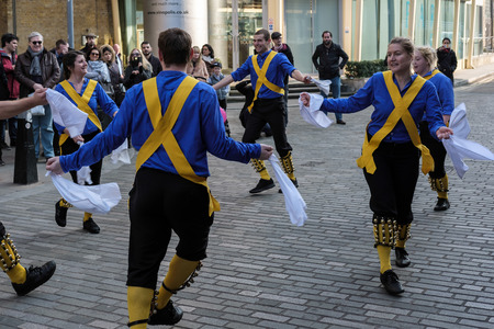 morris: Kent and Sussex Morris Dancers Performing in London Editorial