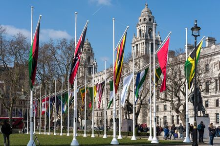 parliament square: Flags Flying in Parliament Square