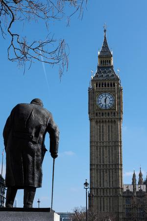 churchill: Statue of Winston Churchill in Parliament Square Editorial