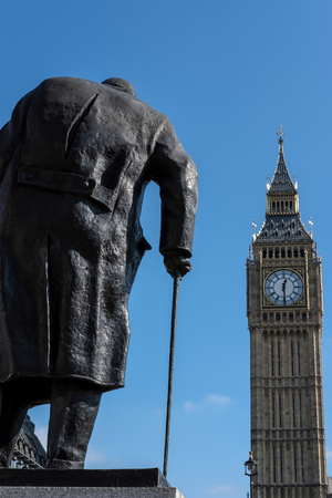 parliament square: Statue of Winston Churchill in Parliament Square Editorial