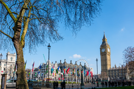 parliament square: View of Big Ben across Parliament Square Editorial