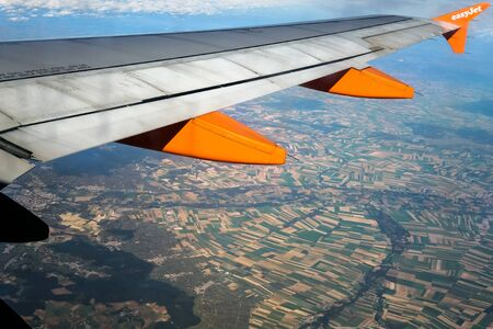 french countryside: Aerial view of the French countryside from a jet liner