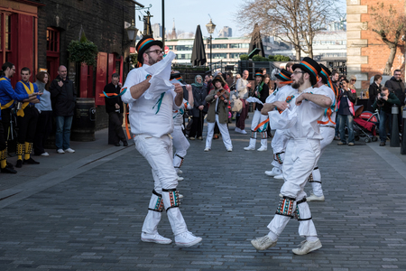 sussex: Kent and Sussex Morris Dancers Performing in London Editorial