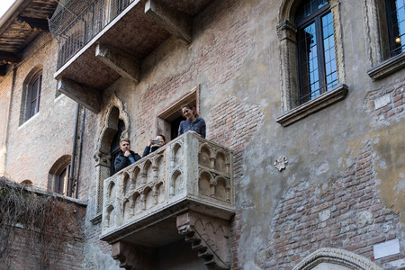 juliets: Romeo and Juliets Balcony in Verona Editorial