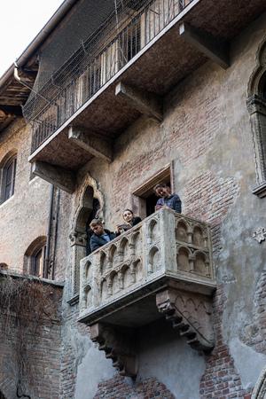 juliets: Romeo and Juliets Balcony in Verona Stock Photo