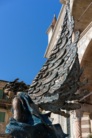 angel statue: Angel Statue outside Verona Cathedral